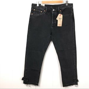 New Levi's 501 Denim Jeans Taper Cropped Ankle Bow